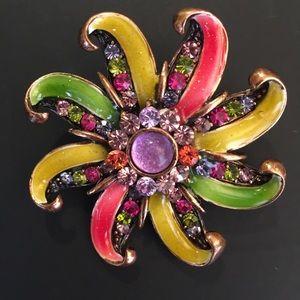 Jewelry - Multi Color Enamel Brooch Pin with Rhinestones